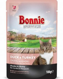 BONNIE POUCH ADULT CAT FOOD DUCK & TURKEY