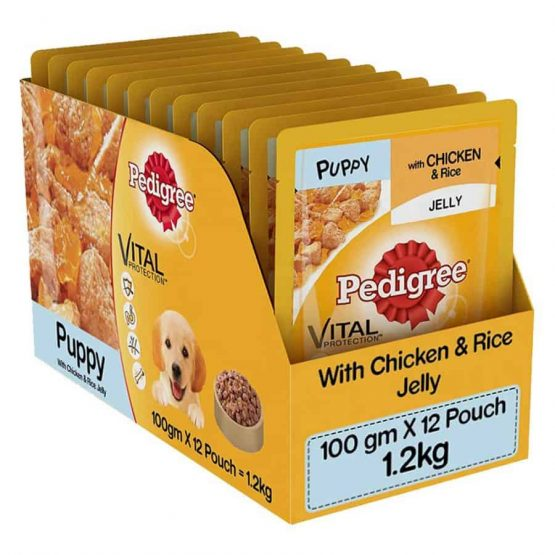Pedigree Puppy pouches chicken and rice in jelly